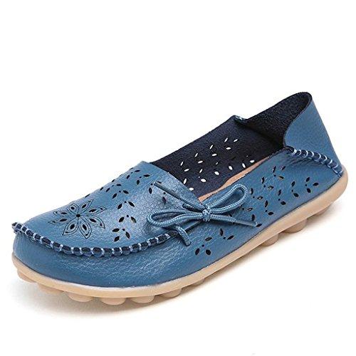 Oriskey Zapatos cuero Mocasines Zapatillas de Casual Azul Loafers mujer rUErYwxq