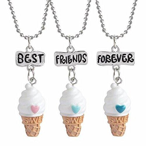 OAONNEA Best Friends Forever Ice Cream Friendship Necklace Set ...