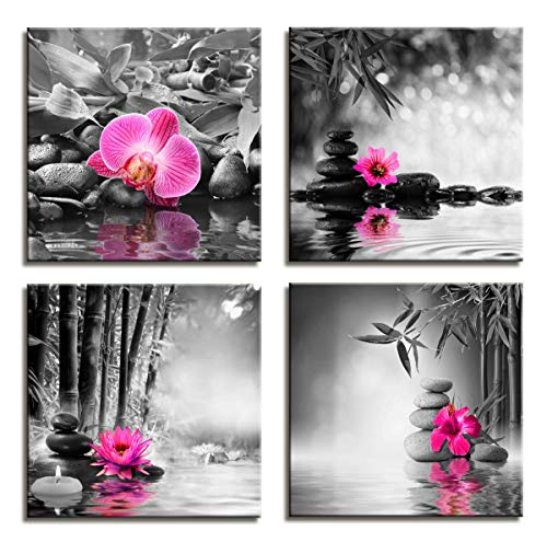 Canvas Prints Zen Art Wall Decor - Spa Massage Treatment Painting Picture Print on Canvas Framed Ready to Hang - Red Orchid Frangipani Bamboo Waterlily Black Stone in Garden - 4 Panel Giclee Art Work (Massage Canvas Picture)