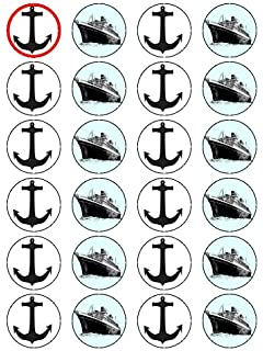 X24 15 Anchor And Cruise Liner Boat Cup Cake Toppers Decorations On Edible Rice Paper