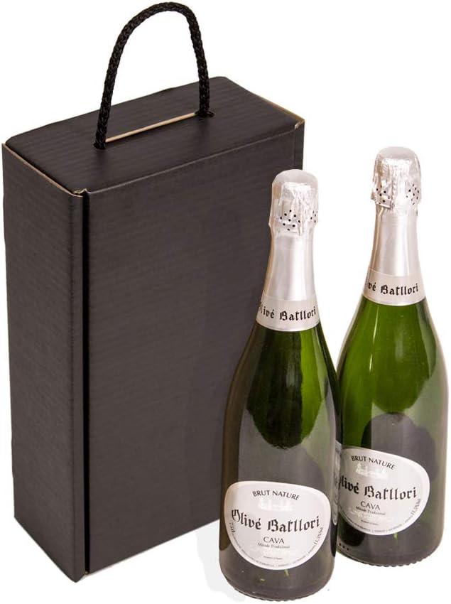 Kartox | Estuche para 2 botellas | Caja de cartón para cava o champagne | Caja de color negro mate | 4 Unidades: Amazon.es: Oficina y papelería