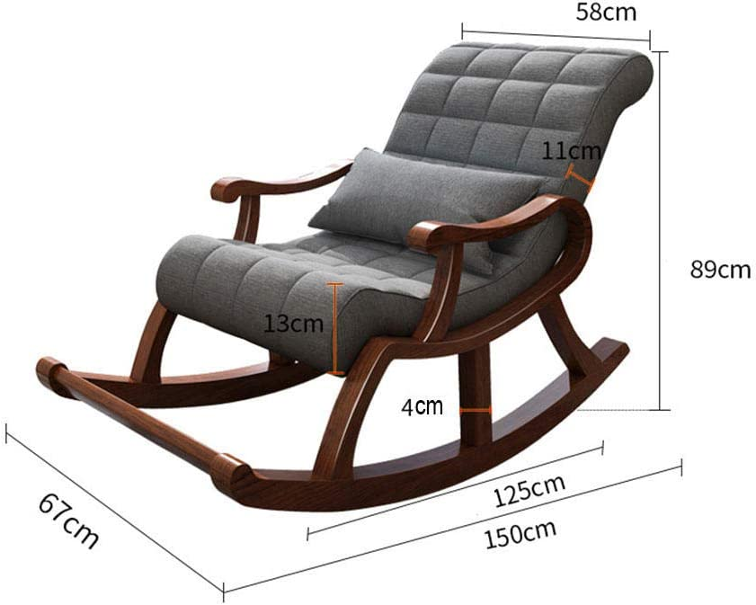 WANGYG Rocking chair Chinese casual old man chair solid wood lazy rocking chair getaway chair adult siesta chair recliner balcony elderly chair light gray Brown