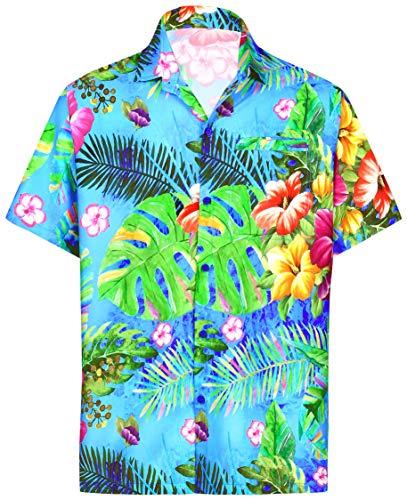 LA LEELA Men's Button Down Hibiscus Print Shirt Blue_6035 XS|Chest 36