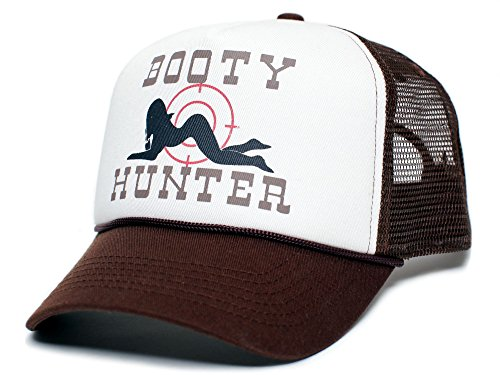 - Booty Hunter Unisex-Adult Curved Bill One-Size Truckers Hat ((Brown/Tan/Brown))
