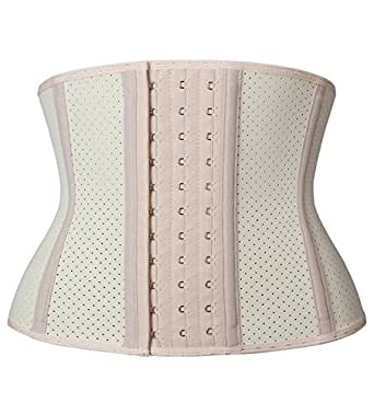 YIANNA Women's Underbust Breathable Short Torso Waist Trainer Corset for Weight Loss Sports Workout Hourglass Body Shaper Fat Burner, YA110266-Beige-XS