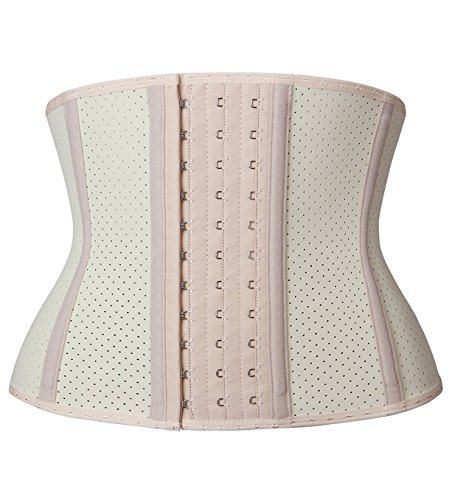 YIANNA Women's Underbust Breathable Short Torso Waist Trainer Corset for Weight Loss Sports Workout Hourglass Body Shaper Fat Burner, YA110266-Beige-2XL