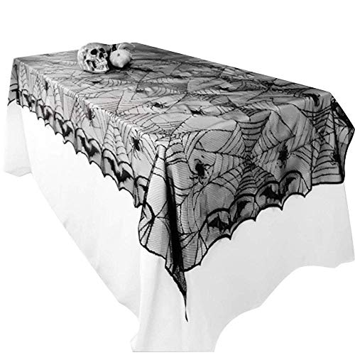Awtlife Halloween Lace Tablecloth Bat Spider Web For Halloween Party Decor 48