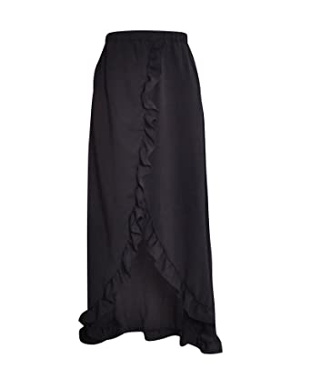 1c509443de DianShao Women's Asymmetric High-Low Hem Prom Flowy Beach Maxi Skirt Black S