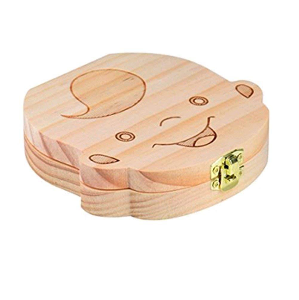 Ni/ño 1Pcs Caja de Dientes de Beb/é Guardar Organizador Ni/ños de Madera Recuerdo Lindo Contenedor de Dientes Caja de Madera Organizador de Almacenamiento