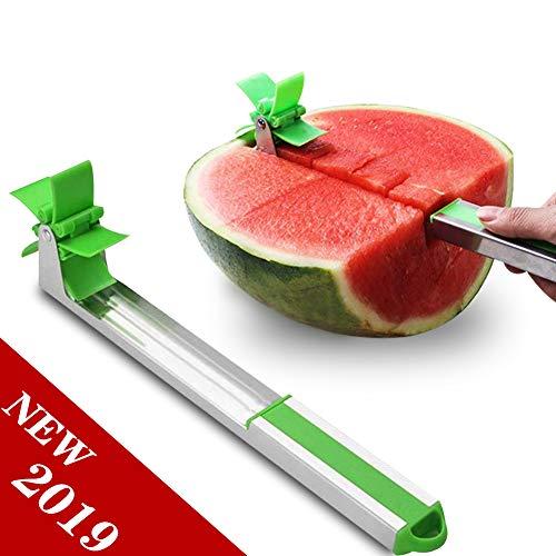 SIHUAN Watermelon Windmill Cutter Slicer Stainless Steel Melon Cuber Knife Fruit Slicer Knife Watermelon Cubes Fun Fruit Vegetable Salad DIY Cutting Tool Kitchen Gadget