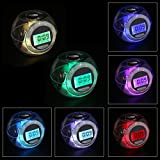 Multi-function Alarm Clock 7 Color Light Glowing Calendar Digital Clock with 6 Nature Sound Colorful Night Light Color Change