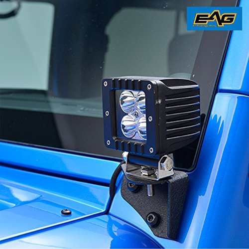 EAG 07-17 Jeep JK LED Light Windshield Mount Corner Relocate Brackets Kit