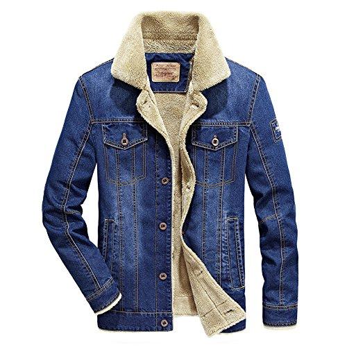Un gran número de hombres chaquetas de mezclilla de hombres chaqueta de ocio grandes números de hombres abrigo más caliente de terciopelo azul claro ,4XL ,6009