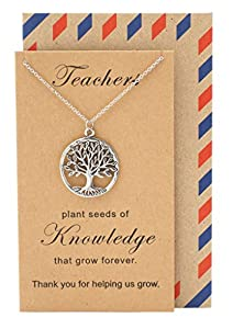 Quan Jewelry Teacher's Day Perfect Gift, Tree of Life Necklace Pendant with Thank You Card, Appreciation Gifts