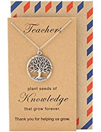 Teacher's Day Perfect Gift, Tree of Life Necklace Pendant with Thank You Card, Appreciation Gifts