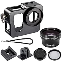 Neewer® (1)Metal Skeleton Thick Solid Protective Case + (1)37MM UV Filter + (1)37MM Snap-on Lens Cap + (1)37MM 0.45X Wide Angle Lens with Detachable Macro Lens for GoPro HERO 3+/4 Camera (Black)