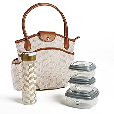 4617cda4834a Fit & Fresh Insulated Lunch Bag Kit, includes BPA-Free Container Set,  Sumter Pink Thin Stripe