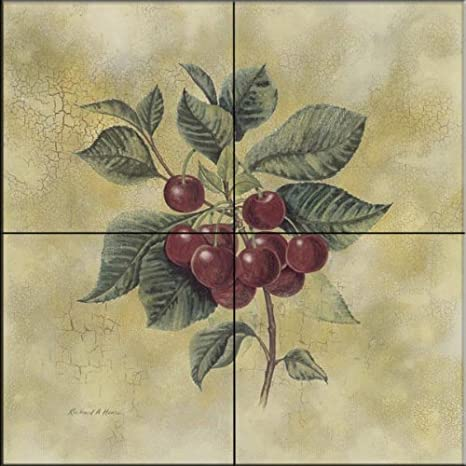 Cherries by Richard Henson - Kitchen Backsplash / Bathroom wall Tile Mural