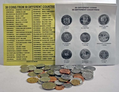 50 DIFFERENT UNCIRCULATED COINS FROM 50 DIFFERENT COUNTRIES,mint!world coin collection set.