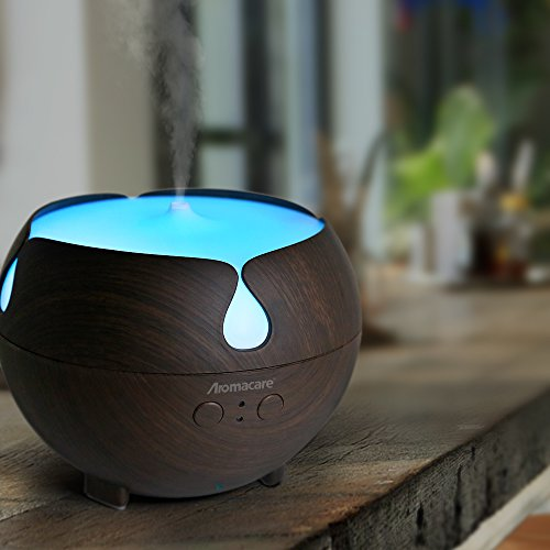 Large Aroma Globe Essential Oil Diffuser with Water 600ML , Aromatherapy Cool Mist Humidifier, Ultra Quiet Ultrasonic Nebulizer, Wood Grain,Color LED Light, Last Overnight