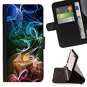 DEVIL CASE - FOR Samsung Galaxy S6 EDGE - Smoke Colorful Art Stripes Pattern Wallpaper - Style PU Leather Case Wallet Flip Stand Flap Closure Cover