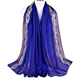 Alice Women Classy Chiffon Golden Thread Solid Muslim Long Scarf Shawls Wraps Royal Blue