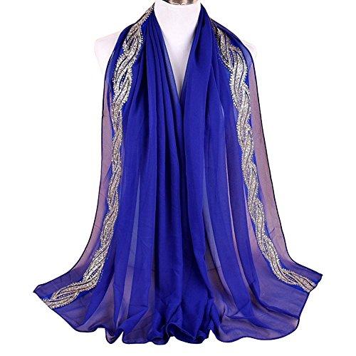 hiffon Golden Thread Solid Muslim Long Scarf Shawls Wraps Royal Blue ()