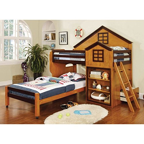 Citadel House Design Oak & Walnut Finish Dual Twin Size Loft Bed Set by 247SHOPATHOME