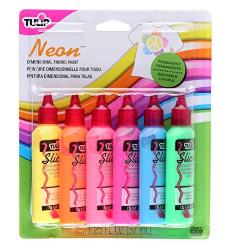 Tulip 29027 Dimensional Neon Fabric Paint, 6-Pack