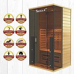 Medical Sauna 4 Full Spectrum | Home Sauna - 2 Person Indoor Infrared Sauna Spa | Oxygen Ionizer, Chromatic Light Therapy, Hot Yoga | Audio System | Full Spectrum, Carbon Heaters | Luxury Sauna