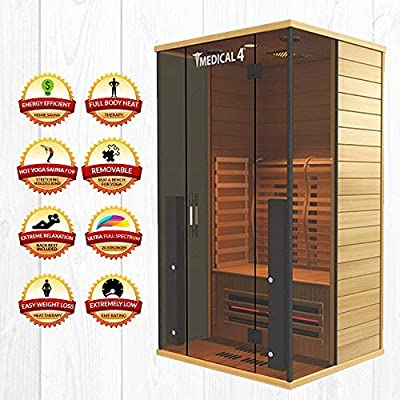 Medical 4 Full Spectrum Home Sauna - 2 Person Home Sauna 47 x 42 x 78 Chromatic Therapy Speakers AUX 7 Full Spectrum & 14 Cell Carbon Heaters