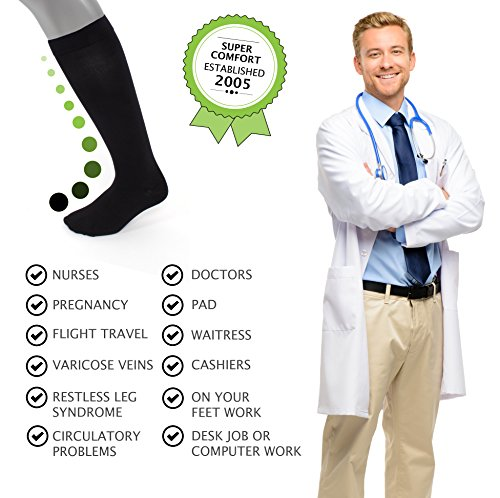 Compression Socks | Mens Black Dress Casual (1 pair) | (15-20 mmHg) Graduated | Sock Size 10-13 | Improve Foot Health Comfort Circulation for Diabetes, Edema, Flight Travel, Swollen Feet by Sugar Free Sox (Image #4)