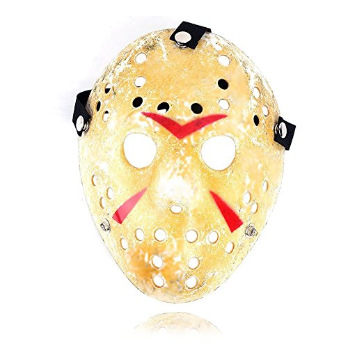 Domccy Halloween Jason Mask Gold Vintage Jason Voorhees Freddy Hockey Festival Halloween Masquerade Party Mask Men's and women's jewelry, novelty jewelry, birthday gifts, wedding gifts, ladies jewelry