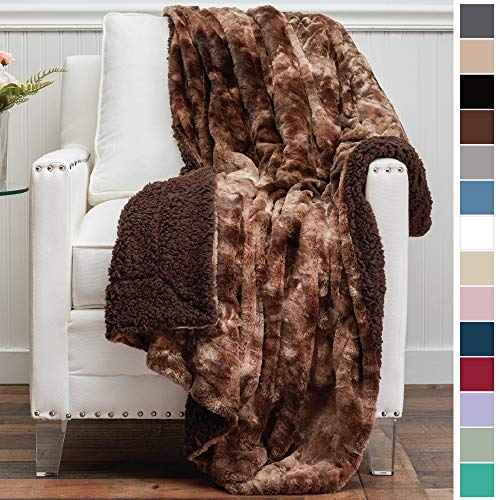 The Connecticut Home Company Luxury Faux Fur with Sherpa Reversible Throw Blanket, Super Soft, Large Wrinkle Resistant Blankets, Warm Hypoallergenic Washable Couch or Bed Throws, 65x50, Brown Tie Dye (Rug Brown Chocolate Throw)