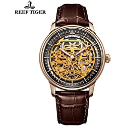 Reef Tiger Designer Mens Skeleton Dial Brown Leather Rose Gold Watches RGA1975