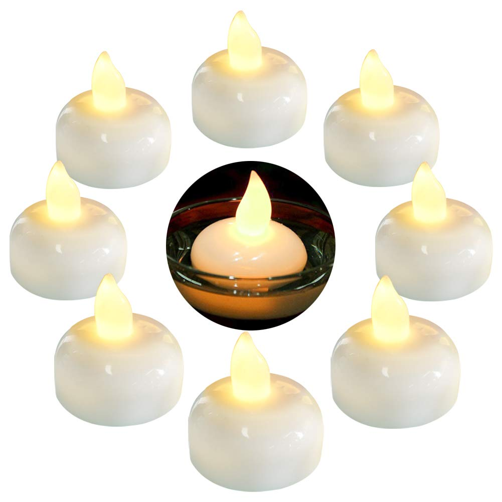 Homemory 24 Pack Waterproof Flameless Floating Tealights, Warm White Battery Flickering LED Tea Lights Candles - Wedding, Party, Centerpiece, Pool & SPA by Homemory