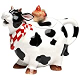 """ATD 61737 9"""" Black and White Cow with Chicken Top Collectible Teapot"""