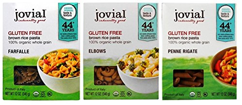 Jovial Organic Gluten-Free Brown Rice Italian Pasta 3 Shape Variety Bundle: (1) Farfalle, (1) Elbows, and (1) Penne Rigate, 12 Oz. (Italian Pasta Rice)
