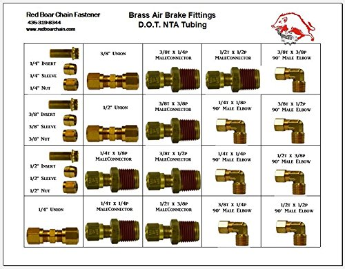 "Brass Air Brake Fittings (For Nylon Tubing & DOT Approved) in 20 Hole Metal Tray Assortment (13-3/8""w x9-1/4""d x 2""h) by RED BOAR Chain"