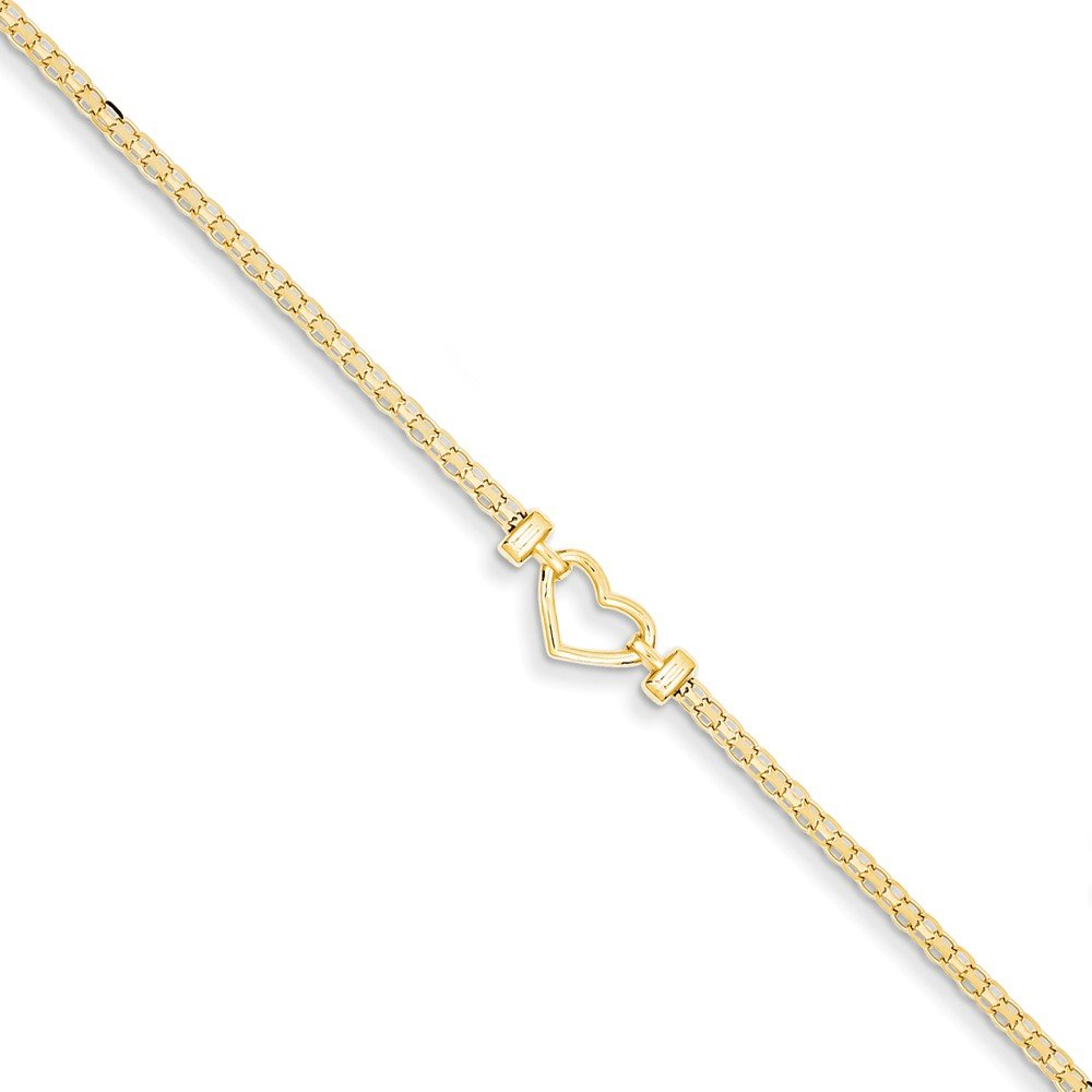Solid 14k Yellow Gold Polished Open-Heart Anklet 10'' - with Secure Lobster Lock Clasp (6.5mm)