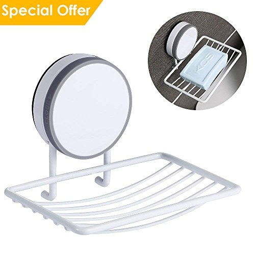 CAVN Super Power Vacuum Soap Dish Suction Cup, Adhesive and Reusable Waterproof Soap Dish Holder Storage Saver Wall Mounted for Kitchen Sink Bathroom Shower, Drainable, No Drill, No Mark