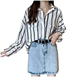 Zainafacai Women's Stripes Button Down Shirts Roll-up Sleeve Tops V Neck Casual Loose Work Blouses