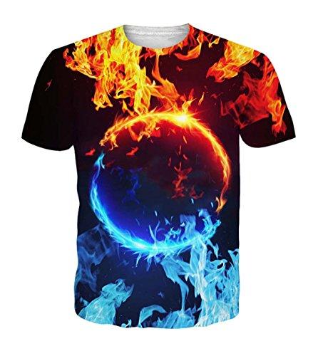 Belovecol Women Mens Summer Tshirts Short Sleeve Crewneck Flame Tees XXL