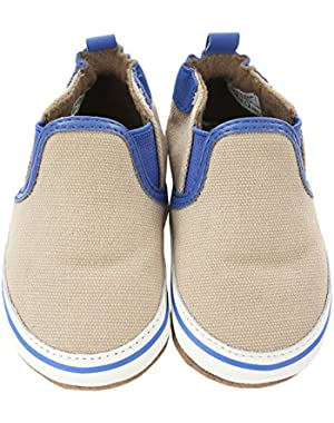 Newborn Baby Shoes Slip-On Sneakers For Boys Canvas Sneakers Soft Sole Crib Shoes Beige Gym Shoe