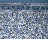 Rajasthan Paisley Block Print 100% Cotton Curtain-Drape- Blue Review