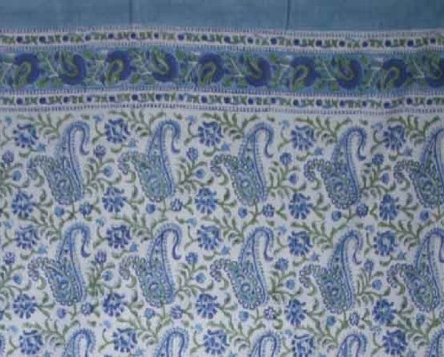 Rajasthan Paisley Block Print 100% Cotton Curtain-Drape- Blue