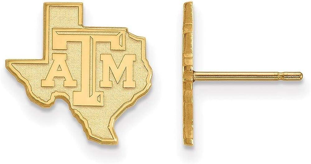 Lex /& Lu LogoArt 14k Yellow Gold Texas A/&M University Small Post Earrings LAL137189