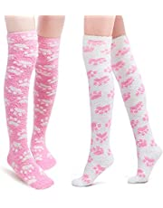 Littleforbig Cute Coral Fleece Thigh High Long Paws Patten Socks 2 Pairs