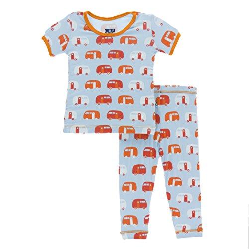 KicKee Pants Little Boys Print Short Sleeve Pajama Set, Pond Camper, 2T