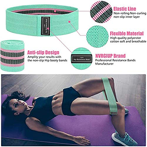 LOBKIN Resistance Bands for Butt and Legs, Wide, Non-Slip,Stretch, Fabric Workout Bands for Women Sports Fitness,Squat Glute Hip Training(3 Pcs)